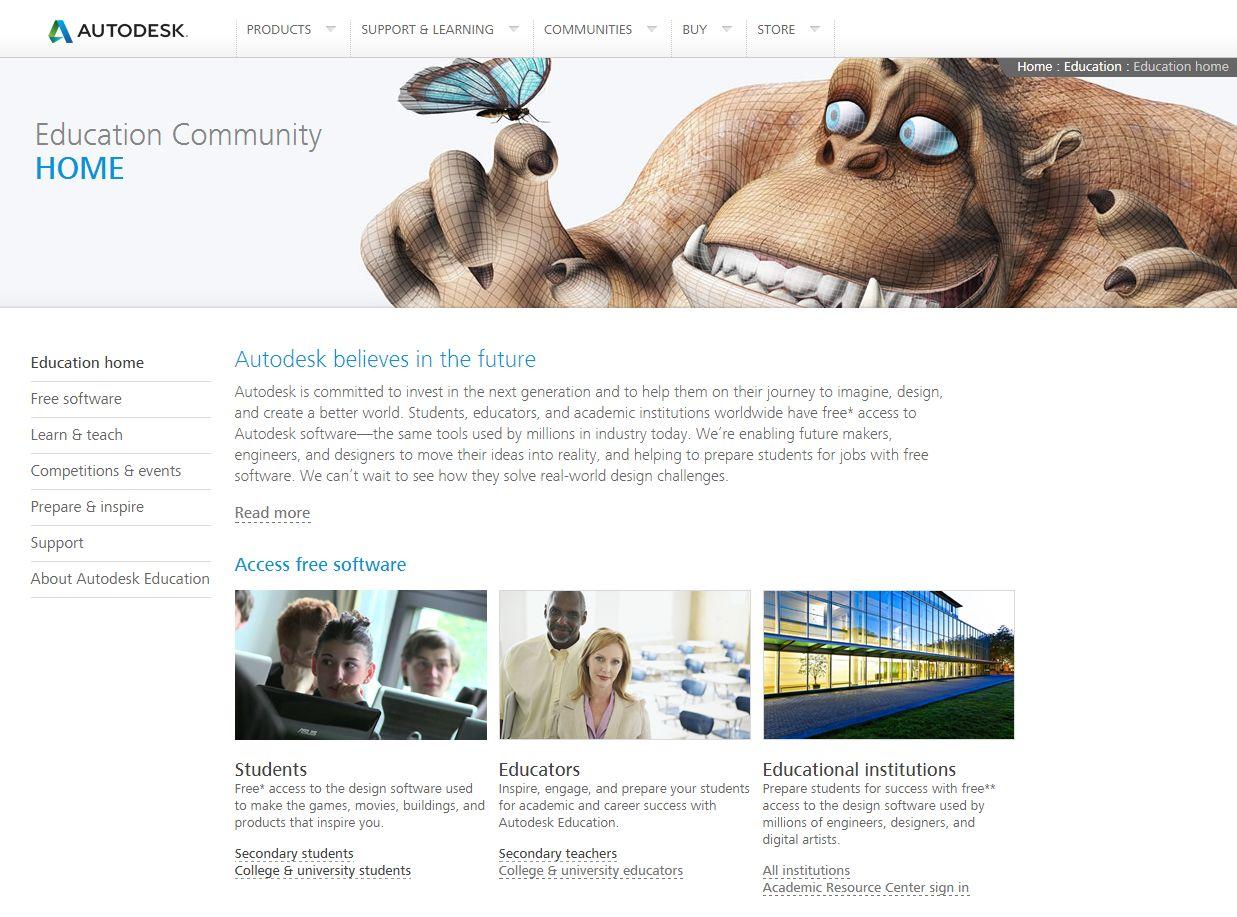 Programy Autodesk pro školy zdarma